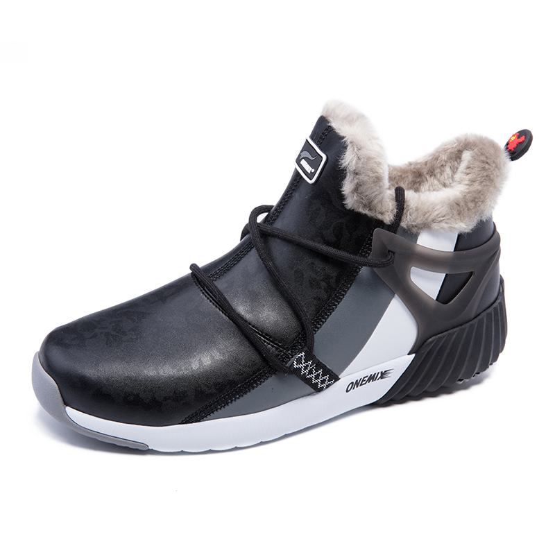 Black/Gray/White Boots ONEMIX Winter Snow Men's Shoes