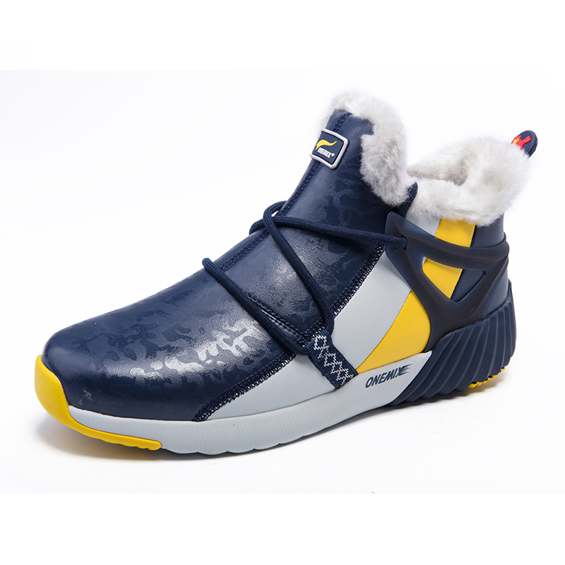 Blue/White/Yellow Boots ONEMIX Winter Snow Men's Shoes