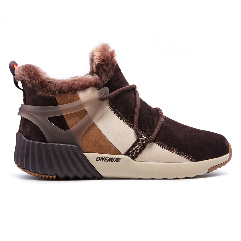 Brown Warm Boots ONEMIX Winter Snow Men's Shoes