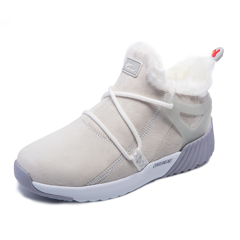 White/Gray Boots ONEMIX Winter Snow Women's Shoes - Click Image to Close