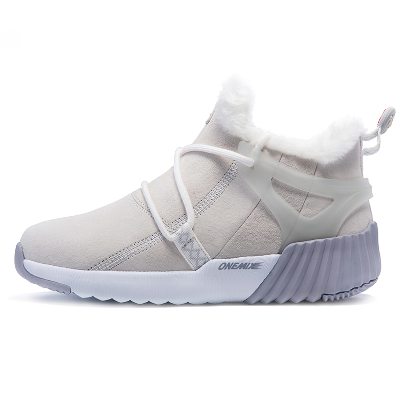 White/Gray Boots ONEMIX Winter Snow Women's Shoes