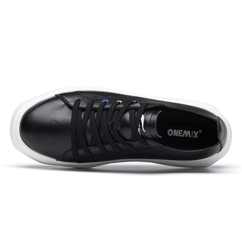 Black Soft Leather Sneakers ONEMIX Unisex Lace-up Outdoor Shoes