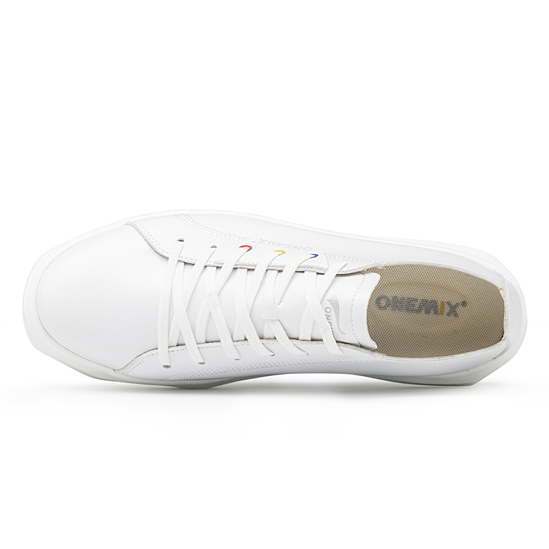 White Lightweight Leather Sneakers ONEMIX Unisex Lace-up Skate Shoes