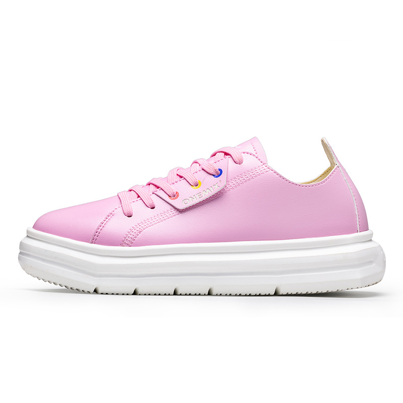 Pink Soft Leather Sneakers ONEMIX Women's Lace-up Walking Shoes