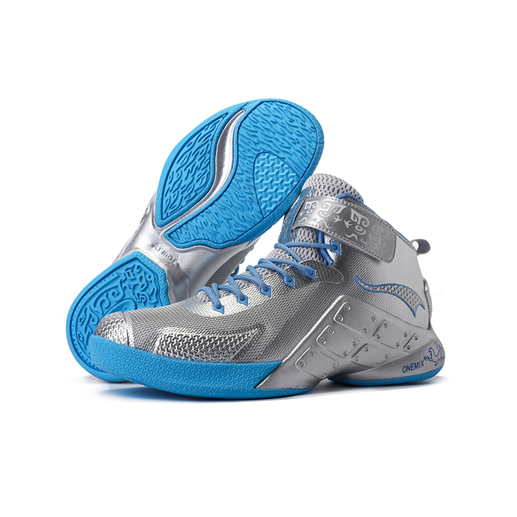 Blue/Silver Warriors ONEMIX Men's Sport Basketball Shoes
