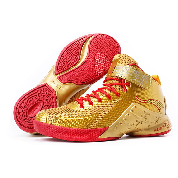 Gold/Red Warriors ONEMIX Men's Breathable Basketball Shoes