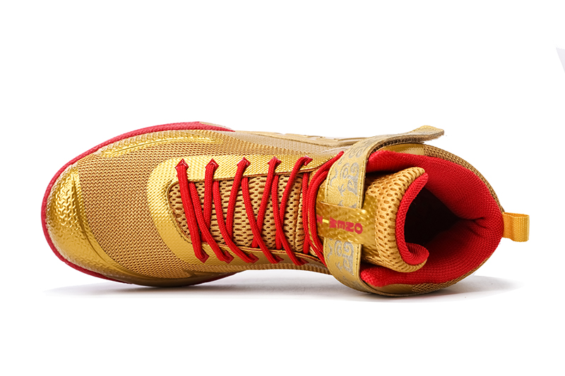 Gold/Red Warriors ONEMIX Men's Breathable Basketball Shoes - Click Image to Close
