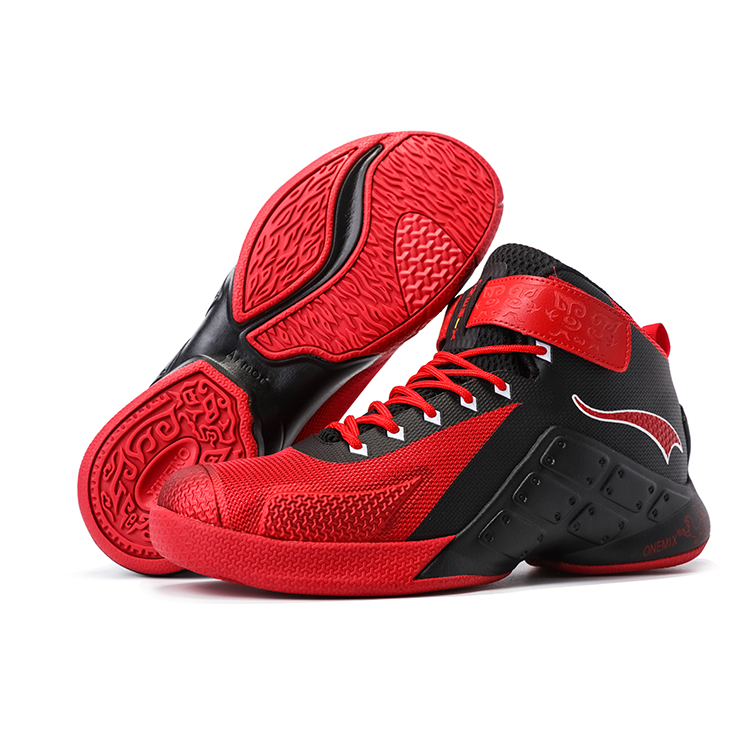 Red/Black Warriors ONEMIX Men's Outdoor Basketball Shoes