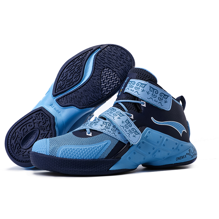 Blue/Navy Warriors ONEMIX Men's Breathable Basketball Shoes