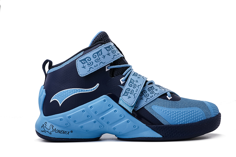 Blue/Navy Warriors ONEMIX Men's Breathable Basketball Shoes - Click Image to Close