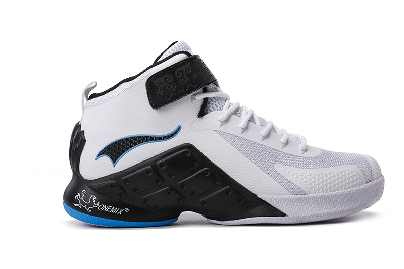White/Black Warriors ONEMIX Men's Sport Basketball Shoes