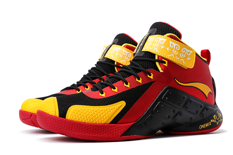 Red/Yellow/Black Warriors ONEMIX Men's Sport Basketball Shoes