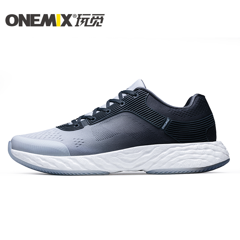 White/Gray Energy Shoes ONEMIX Men's Rebound-58 Outsole Sneakers - Click Image to Close