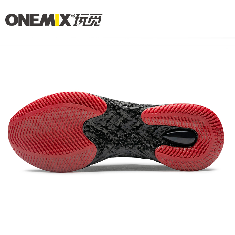 Black/Red Energy Shoes ONEMIX Men's Rebound-58 Outsole Sneakers