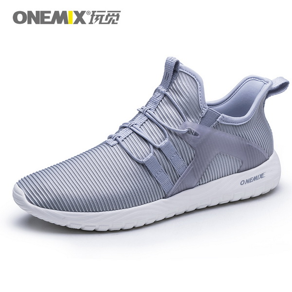 Silver Grey High Elastic Sneakers ONEMIX Unisex Jogging Shoes