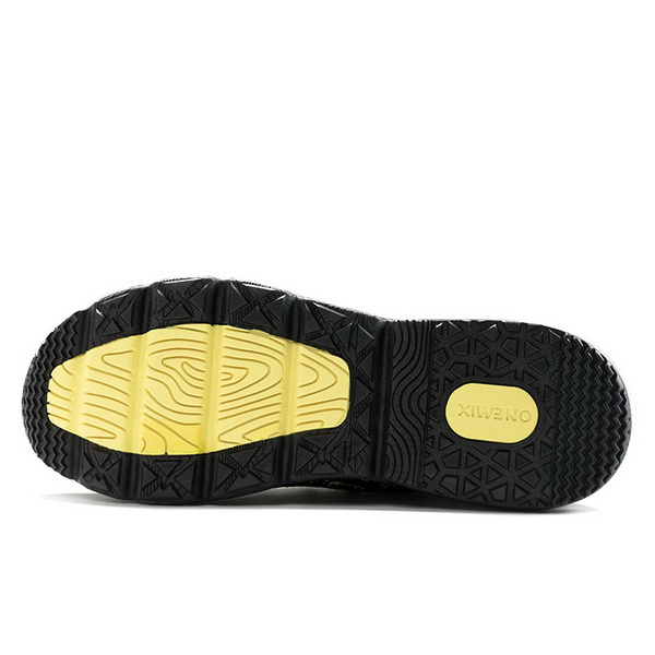 Black/Yellow Breathable Sneakers ONEMIX Men's Retro Shoes - Click Image to Close