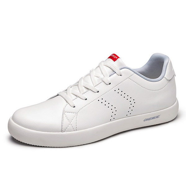 Silver White Leather Men's Shoes ONEMIX Women's College Style Sneakers