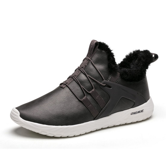 Dark Grey Warm Sneakers ONEMIX Slip On Men's Leather Boots