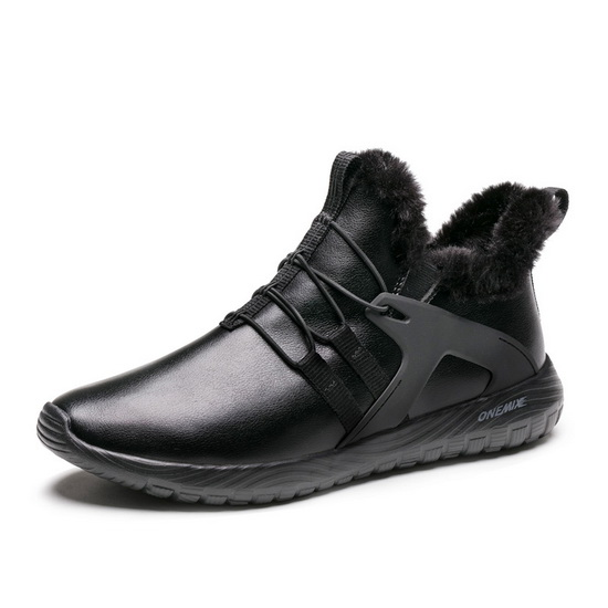 Black Waterproof Shoes ONEMIX Snow Men's Leather Boots