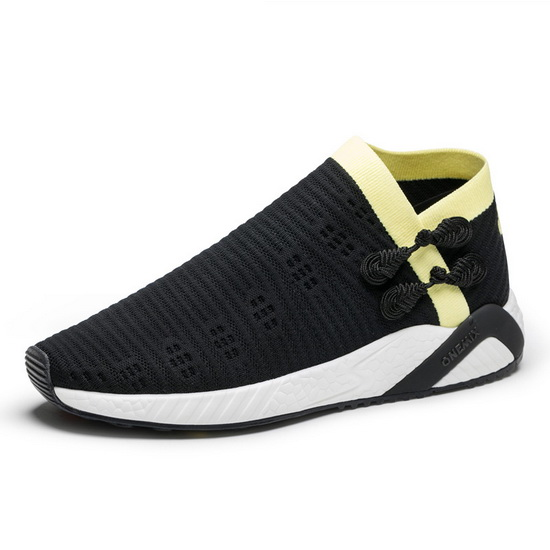 Black/Yellow Cool Women's Sneakers ONEMIX Men's Socks-like Shoes