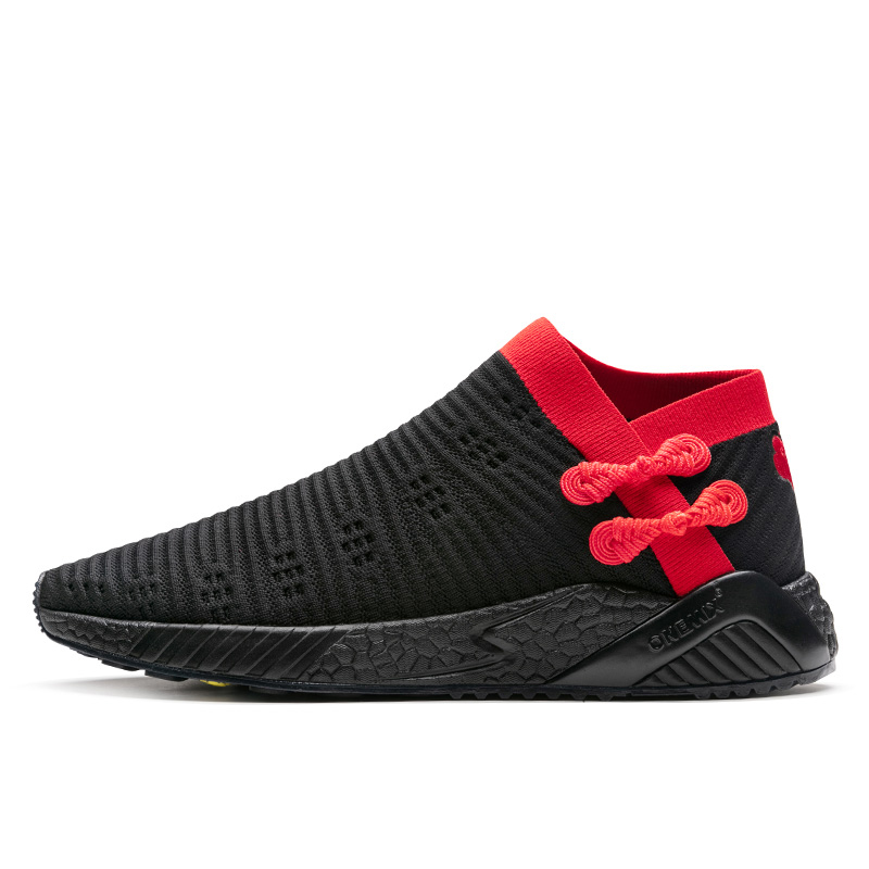 Black/Red Breathable Men's Shoes ONEMIX Women's Socks-like Sneakers