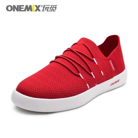 Red Flat Mesh Shoes ONEMIX Men's Slip On Sneakers