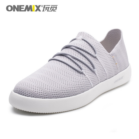 Gray Flat Outdoor Sneakers ONEMIX Men's Slip On Shoes
