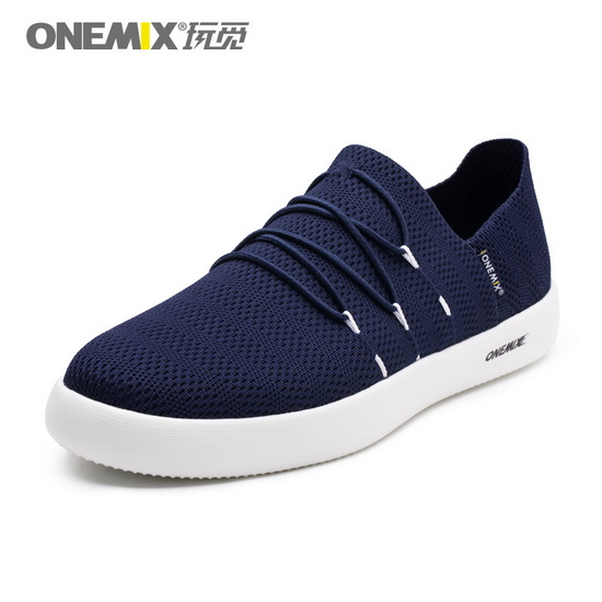 Dark Blue Flat Shoes ONEMIX Men's Slip On Sneakers