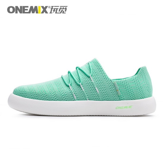 Light Green Slip On Sneakers ONEMIX Women's Flat Shoes - Click Image to Close