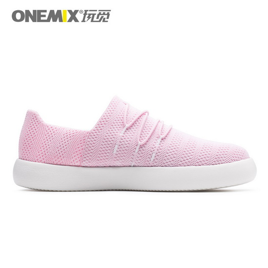 Pink Breathable Slip On Sneakers ONEMIX Women's Flat Shoes
