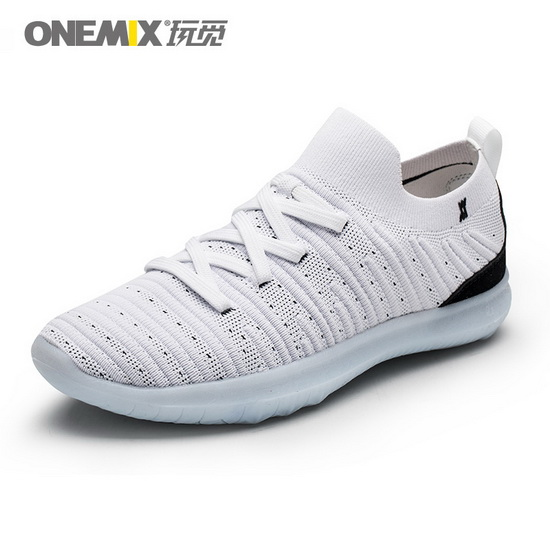 White/Black June Outdoor Shoes ONEMIX Men's Sneakers - Click Image to Close