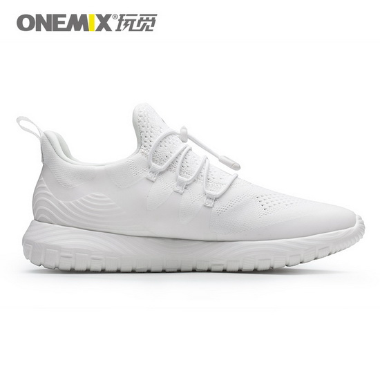 White Listener Women's Sneakers ONEMIX Men's Running Shoes - Click Image to Close