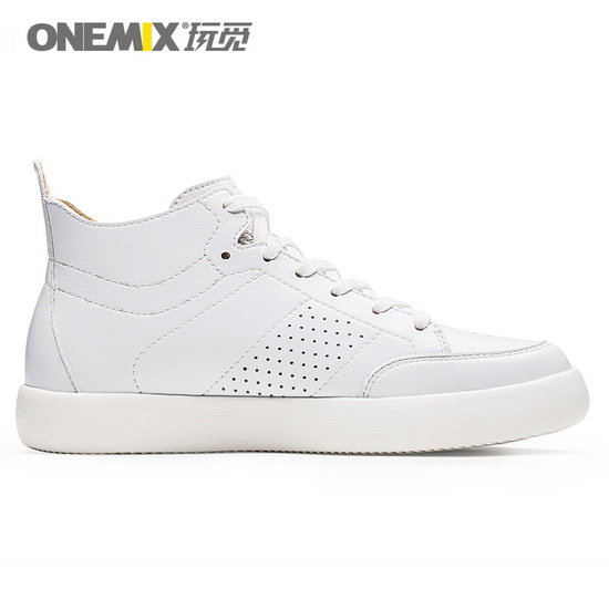 White Leather Women's Shoes ONEMIX Men's High Top Sneakers