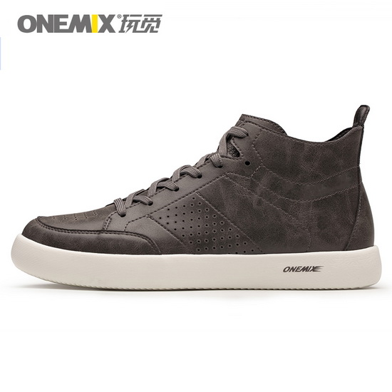 Grey Leather Oxfords Sneakers ONEMIX Men's High Top Shoes