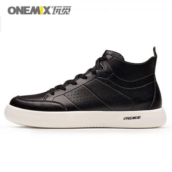 Black Leather Women's Shoes ONEMIX Men's High Top Sneakers