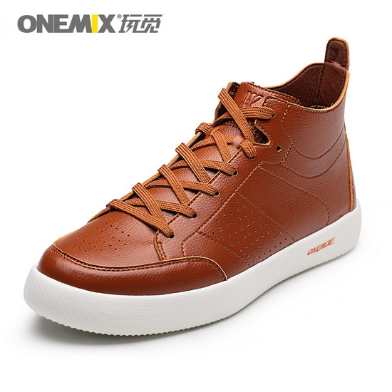 Brown Leather Men's Sneakers ONEMIX Classic High Top Shoes
