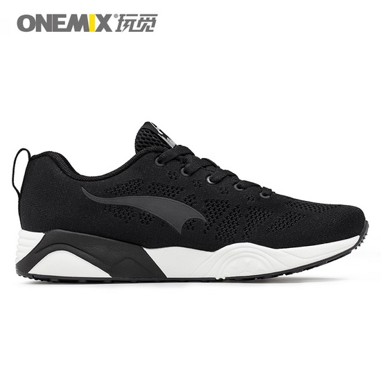 Black Athlon Shoes ONEMIX Men's Breathable Sneakers - Click Image to Close