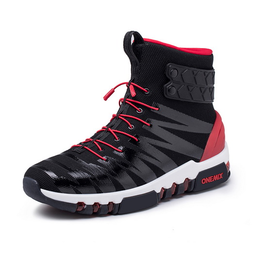 Black/Red High Top Sneakers ONEMIX October Men's Athletic Shoes