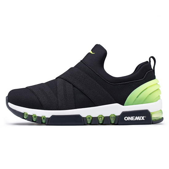 Black/Green KeyBand Shoes ONEMIX Men's Walking Sneakers