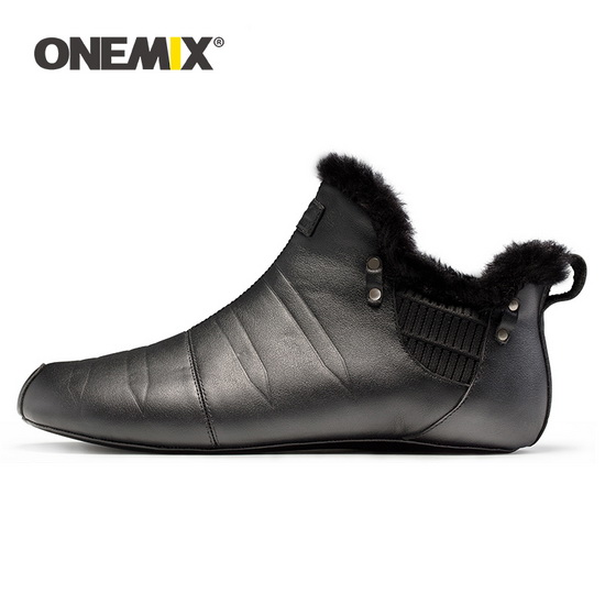 Black Warm Keeping Couple ONEMIX No Glue Indoor Shoes