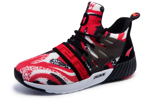 Red/White Graphic Sneakers ONEMIX Men's Running Shoes