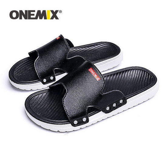 Black/Red Walking Summer Sandals ONEMIX Beach Men's Shoes