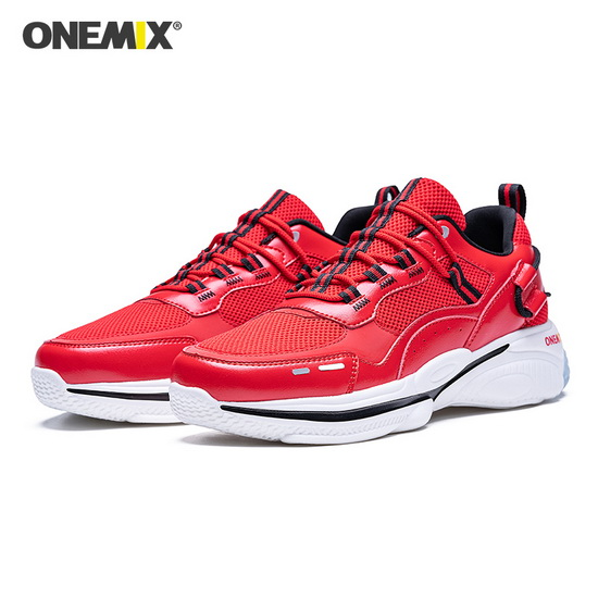 Red Travel Men's Shoes ONEMIX Lifestyle Women's Dad Sneakers