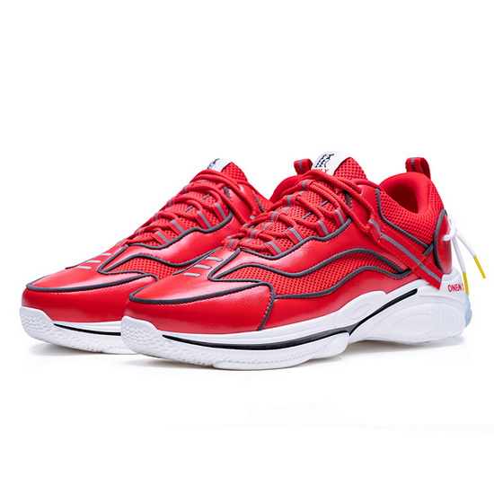 Red/White Sewing Thread Women's Sneakers ONEMIX Men's Dad Shoes