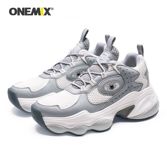 Gray/White Spider Sneakers ONEMIX Comfortable Men's Shoes