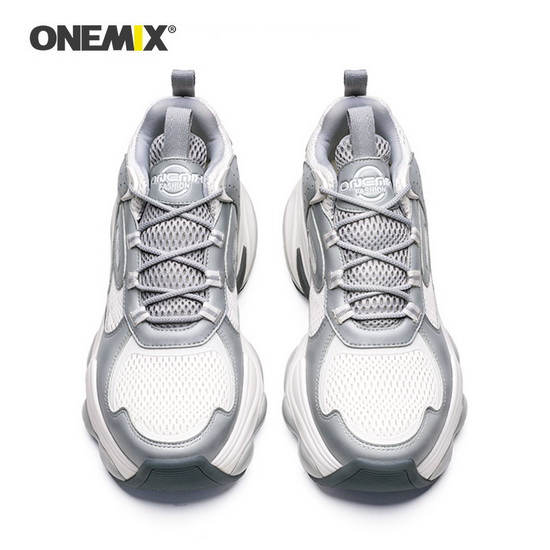 Gray/White Spider Sneakers ONEMIX Comfortable Men's Shoes - Click Image to Close