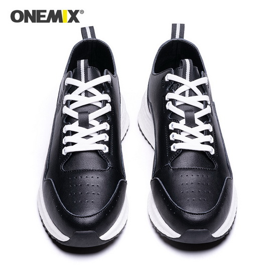 Black Wonder Sneakers ONEMIX Running Men's Leather Shoes