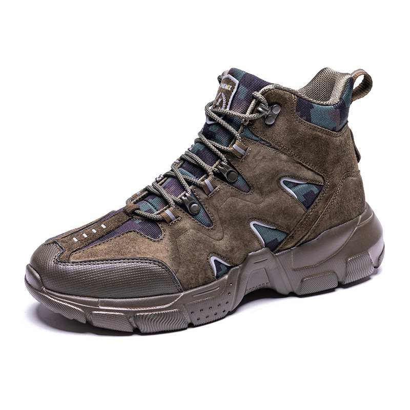 Dark Green Tornado Leather Boots ONEMIX Men's High Top Shoes