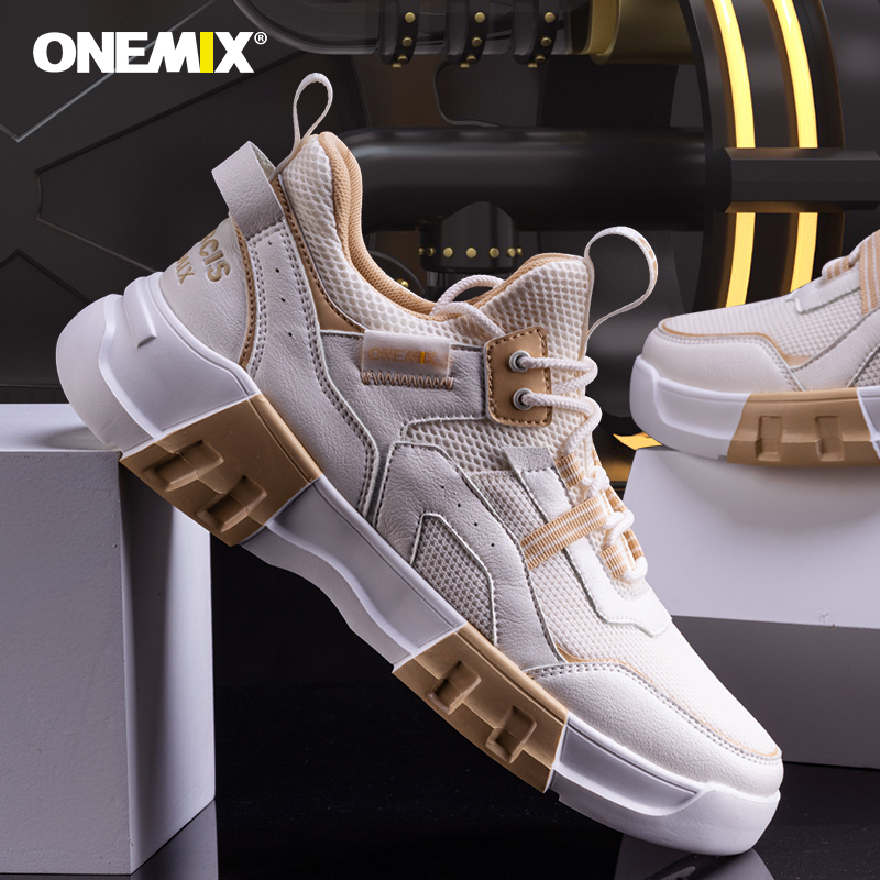 Ivory/White Chunky Sport Sneakers ONEMIX Men's Outdoor Shoes - Click Image to Close