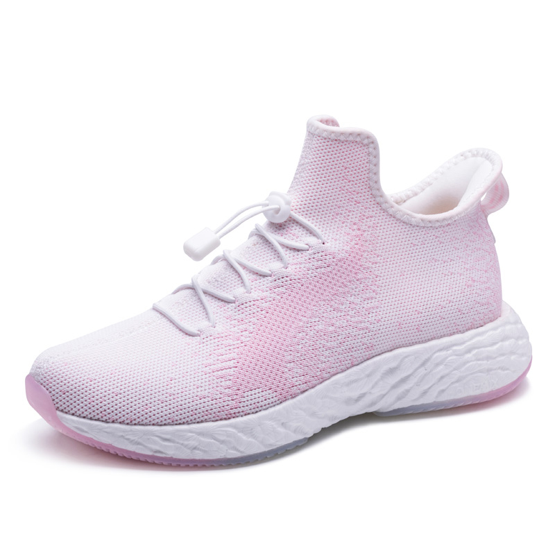Pink/White Knitted Vamp Shoes ONEMIX Women's Breathable Sneakers